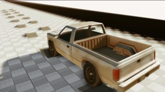 машина на полосе препятствий