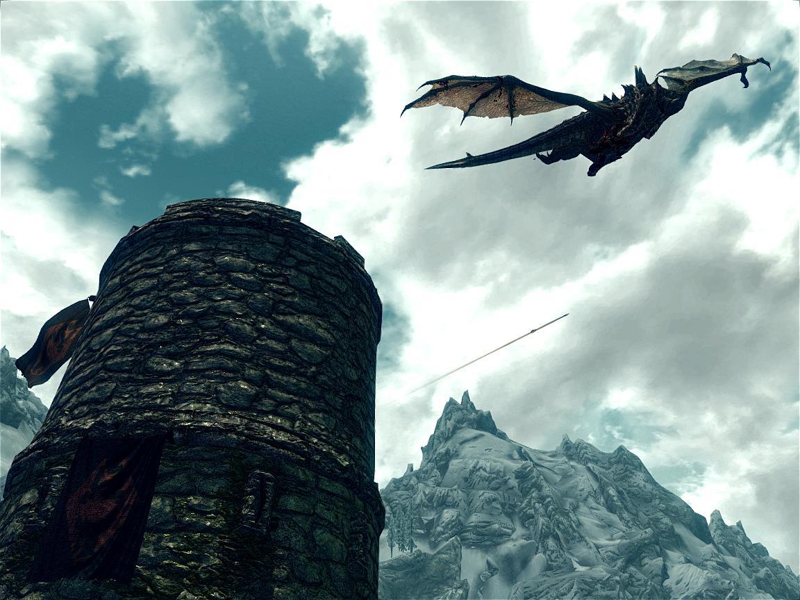 Дракон в небе Skyrim